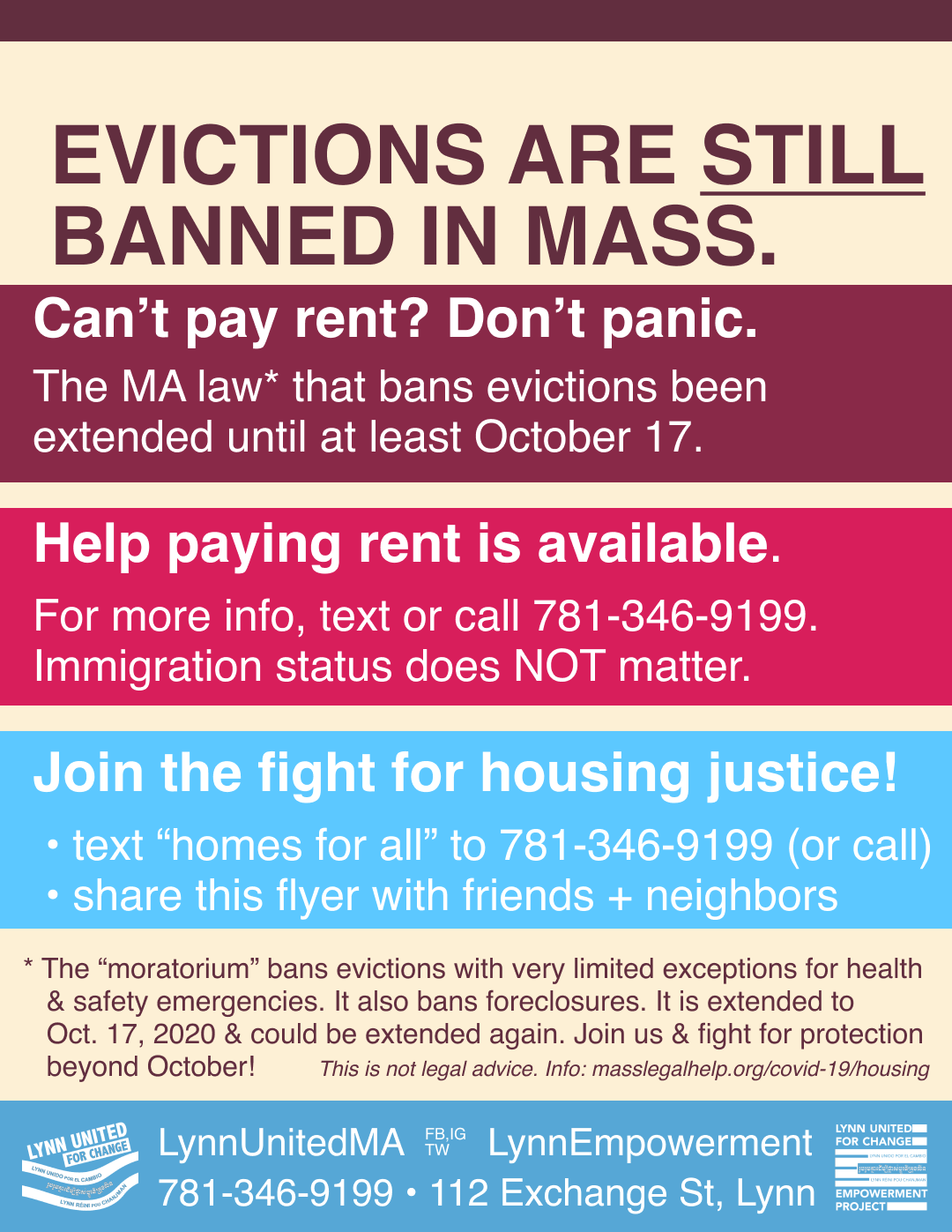 Flyer with information about MA state law that bans evictions during coronavirus emergency