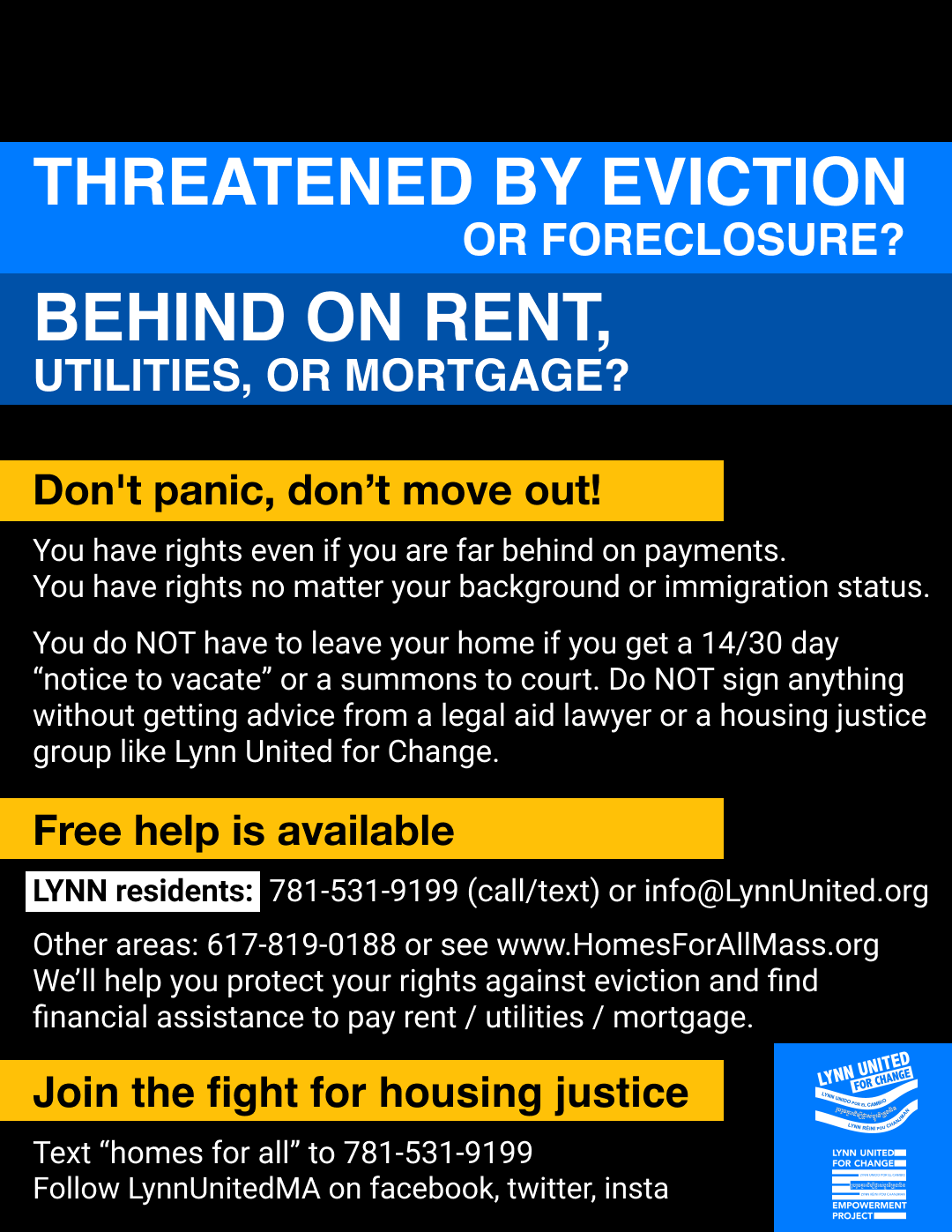 Flyer with information about what to do if you get an eviction notice or fall behind on rent